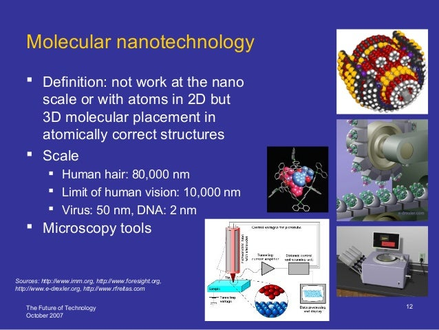 The Future of Technology October 2007 12 Molecular nanotechnology  Definition: not work at the nano scale or with atoms i...