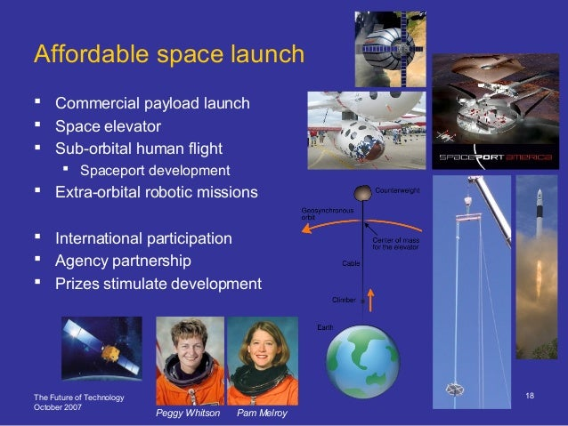 The Future of Technology October 2007 18 Affordable space launch  Commercial payload launch  Space elevator  Sub-orbita...