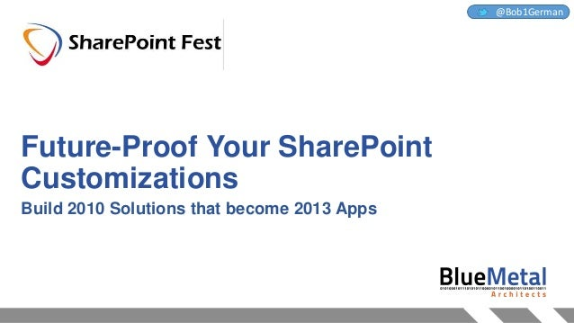 Future-Proof Your SharePoint Customizations Build 2010 Solutions that become 2013 Apps @Bob1German