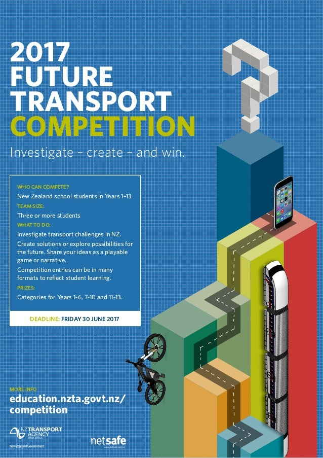 2017 FUTURE TRANSPORT COMPETITION Investigate – create – and win. MORE INFO education.nzta.govt.nz/ competition WHO CAN CO...