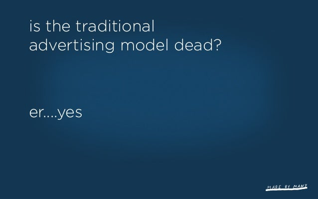the distintermediation of media buyers ...and a new advertising model that isn't advertising ...and media owners