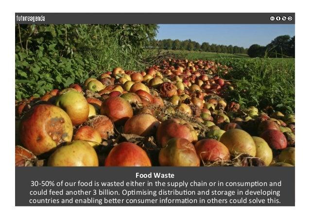 FoodWaste 30-50%ofourfoodiswastedeitherinthesupplychainorinconsump0onand couldfeedanother3billion....