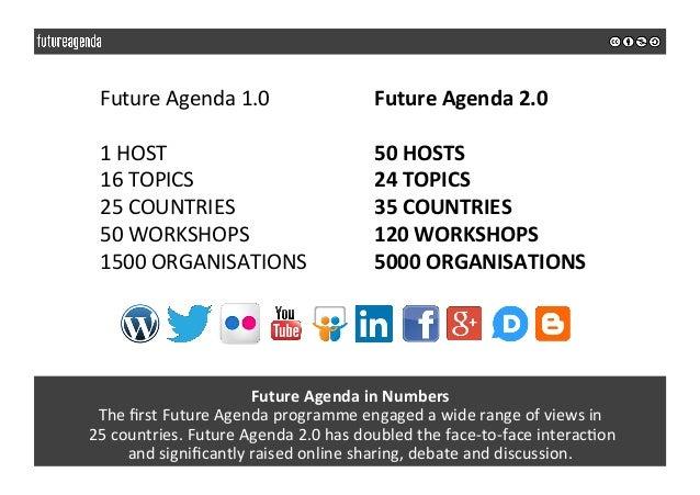 FutureAgendainNumbers ThefirstFutureAgendaprogrammeengagedawiderangeofviewsin 25countries.FutureAgenda...