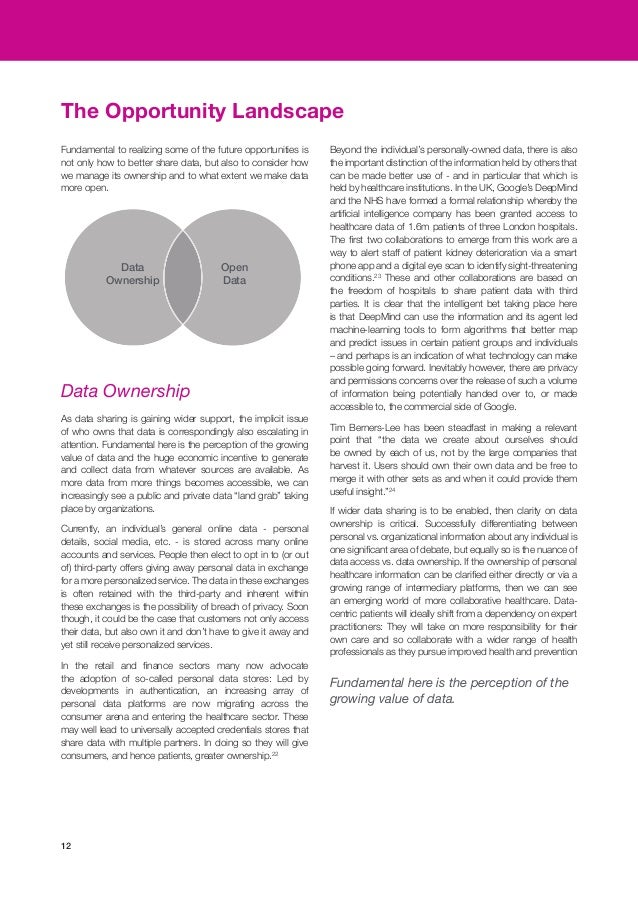 12 If wider data sharing is to be enabled, then clarity on data ownership is critical. Successfully differentiating betwee...