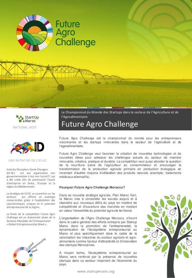 Le Championnat du Monde des Startups dans le secteur de l'Agriculture et de l'Agroalimentaire Future Agro Challenge  Indus...