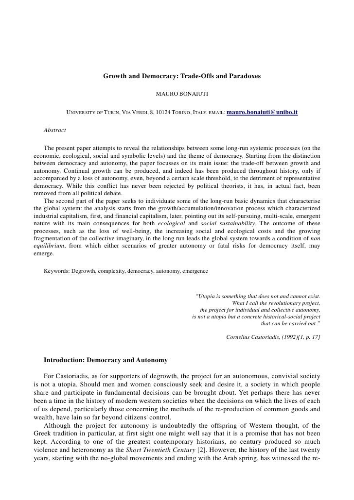 Growth and Democracy: Trade-Offs and Paradoxes                                                 MAURO BONAIUTI             ...