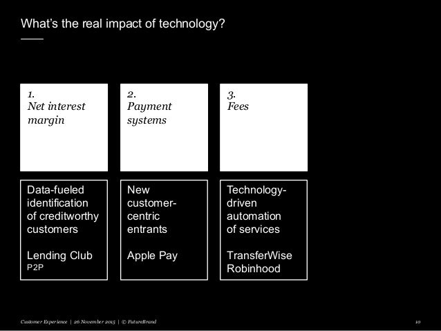 What's the real impact of technology? Customer Experience | 26 November 2015 | © FutureBrand 10 1. Net interest margin 2. ...