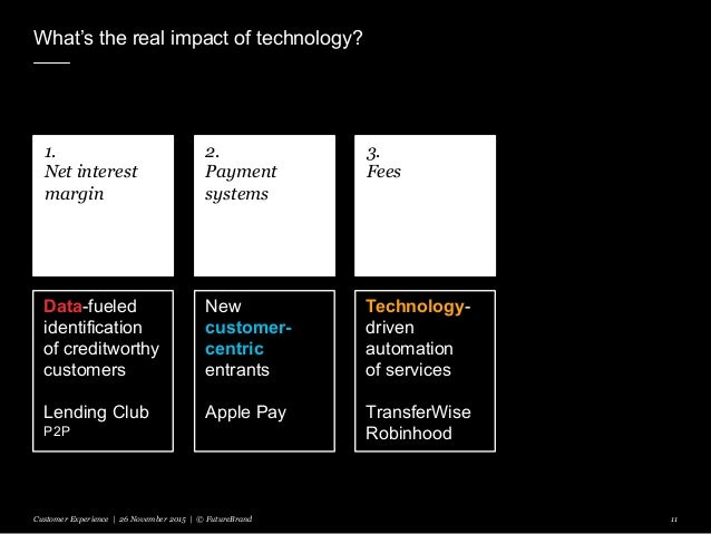 What's the real impact of technology? Customer Experience | 26 November 2015 | © FutureBrand 11 1. Net interest margin 2. ...