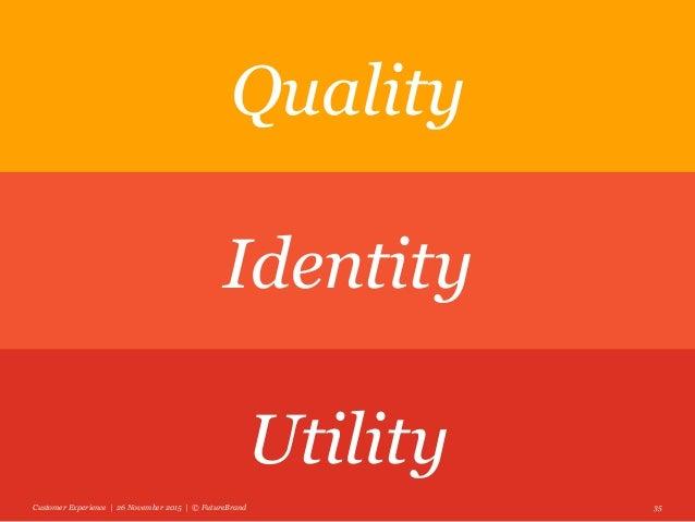 Customer Experience | 26 November 2015 | © FutureBrand 35 Quality Identity Utility