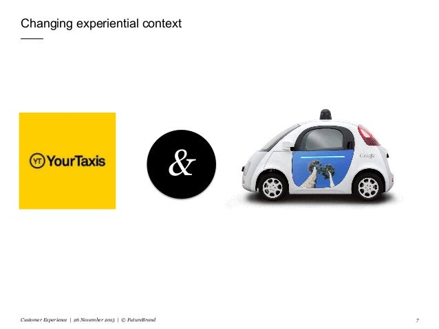 Changing experiential context Customer Experience | 26 November 2015 | © FutureBrand 7 &