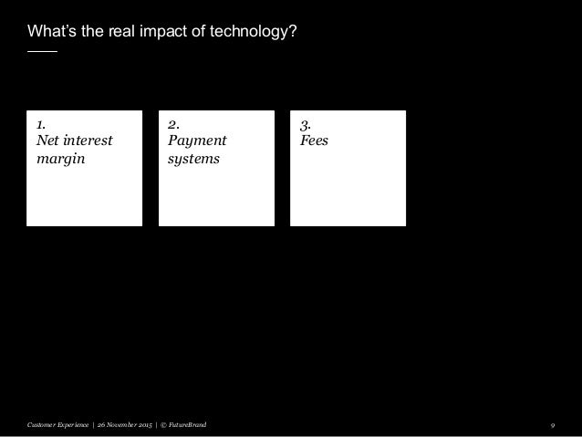 What's the real impact of technology? Customer Experience | 26 November 2015 | © FutureBrand 9 1. Net interest margin 2. P...