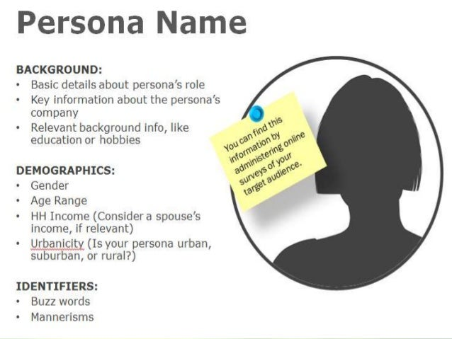 Your future customers Persona To build empathy with our future customers • Personas are more then just demographic informa...