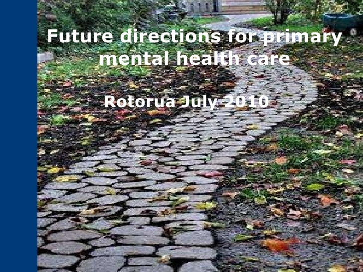 Future directions for primary mental health care Rotorua July 2010
