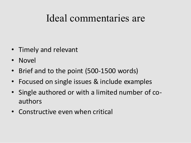 Guidelines for writing a commentary
