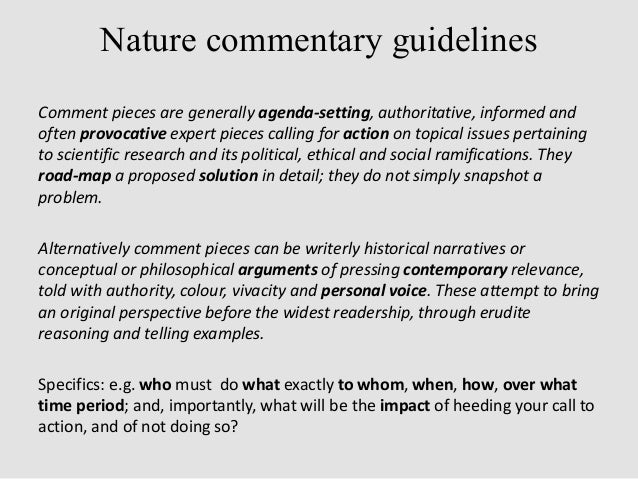 writing scientific commentaries 9 pitching a commentary