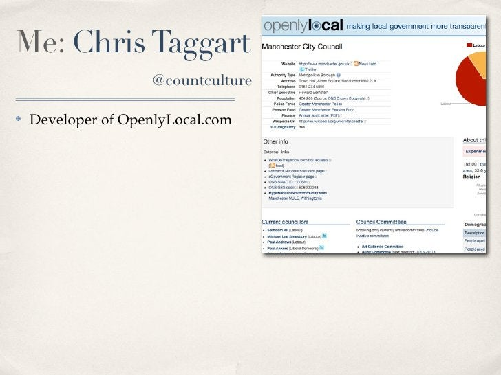 Me: Chris Taggart                     @countculture  ✤   Developer of OpenlyLocal.com