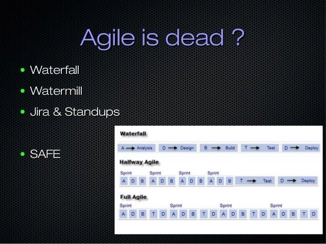 Agile is dead ?Agile is dead ? ● People over ProcessPeople over Process ● Empowering TeamsEmpowering Teams ● LessLess ● Sc...