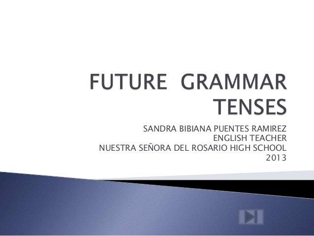 SANDRA BIBIANA PUENTES RAMIREZENGLISH TEACHERNUESTRA SEÑORA DEL ROSARIO HIGH SCHOOL2013