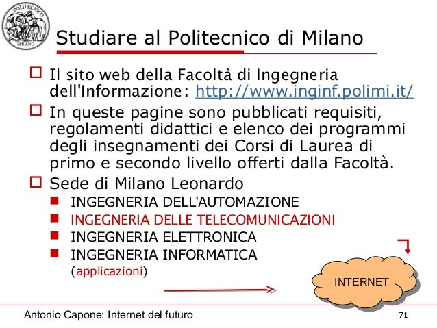 Future internet for Politecnico di milano servizi online