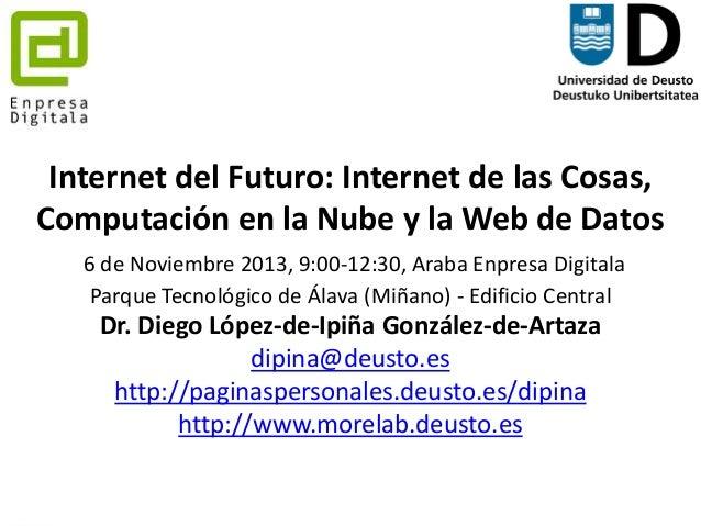 Internet del Futuro: Internet de las Cosas, Computación en la Nube y la Web de Datos 6 de Noviembre 2013, 9:00-12:30, Arab...