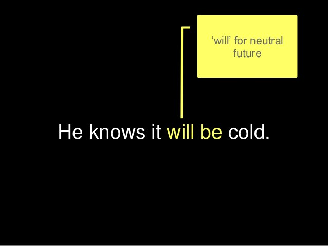 He knows it will be cold. 'will' for neutral future
