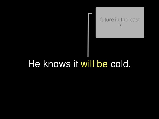 He knows it will be cold. future in the past ?