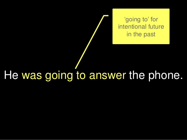 He was going to answer the phone. 'going to' for intentional future in the past