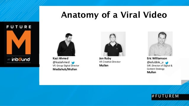 Anatomy of a Viral Video  #FUTUREM  Kazi  Ahmed  @kaziahmed  VP,  Group  Digital  Director  Mediahub/Mullen  Eric  William...