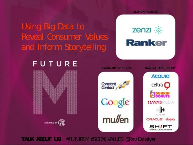 SESSION PARTNER  Using Big D to ata Reveal Consumer V alues and Inform Storytelling VISIONARY SPONSORS  INNOVATOR SPONSORS...