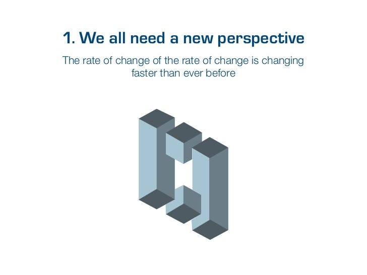 1. We all need a new perspectiveThe rate of change of the rate of change is changing               faster than ever before