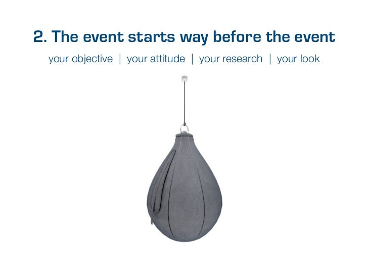 2. The event starts way before the event  your objective | your attitude | your research | your look