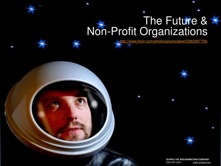 The Future &Non-Profit Organizations<br />http://www.flickr.com/photos/practicalowl/2263287756/<br />SCHIPUL THE WEB MARKE...