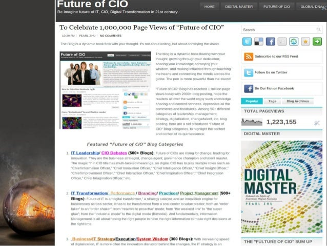 "Celebrating the 2500th Blog Posting of the ""Future of CIO""  Jan 2016 Slide 3"