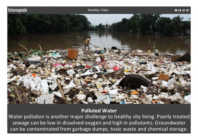 Polluted  Water   Water  pollu3on  is  another  major  challenge  to  healthy  city  living.  Poor...