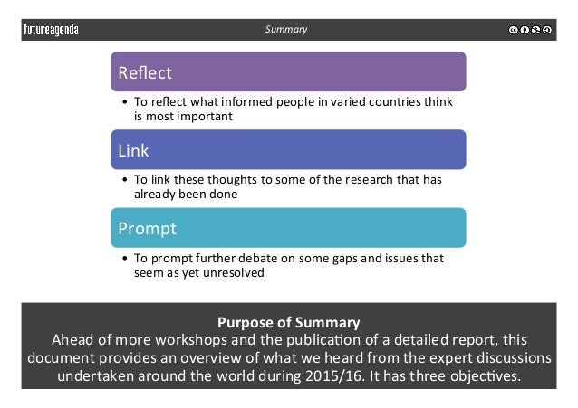 Purpose  of  Summary   Ahead  of  more  workshops  and  the  publica3on  of  a  detailed  report...