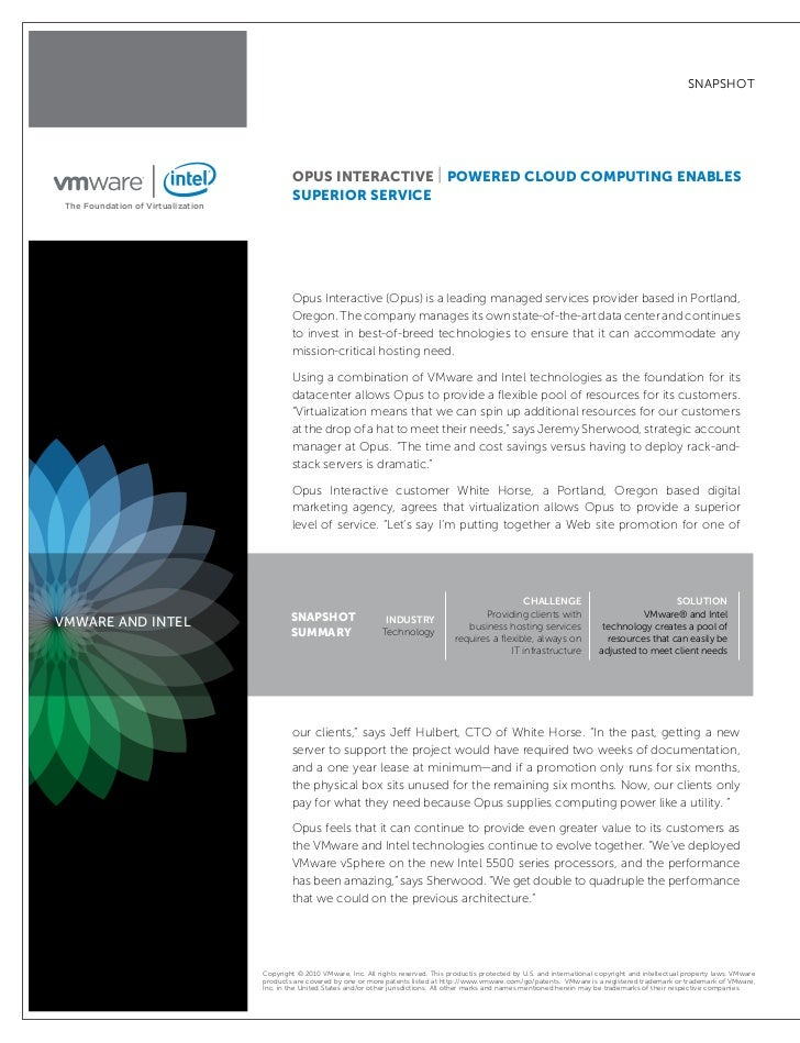 """snapshot                                                 """"VMware and Intel have a perfect marriage, in my eyes. You can re..."""