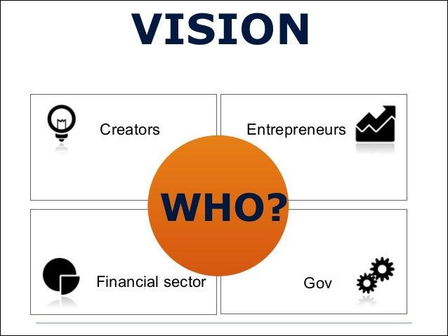 WHO?Creators EntrepreneursFinancial sector GovVISION