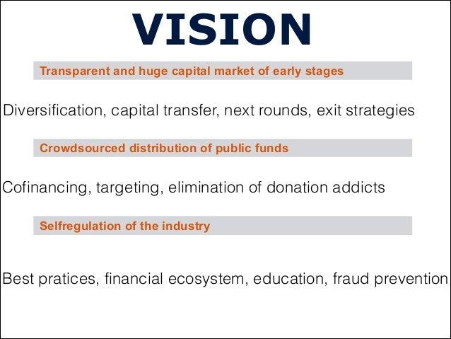VISIONCrowdsourced distribution of public fundsSelfregulation of the industryTransparent and huge capital market of early ...