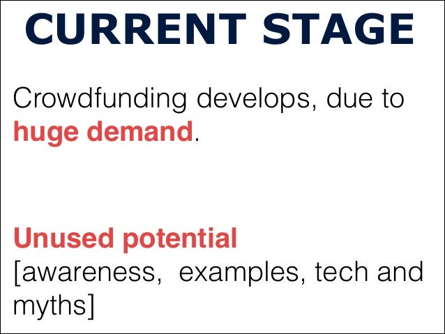 CURRENT STAGECrowdfunding develops, due tohuge demand.Unused potential [awareness, examples, tech andmyths]
