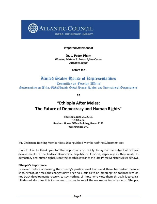 Prepared Statement of  Dr. J. Peter Pham Director, Michael S. Ansari Africa Center Atlantic Council  before the  United St...