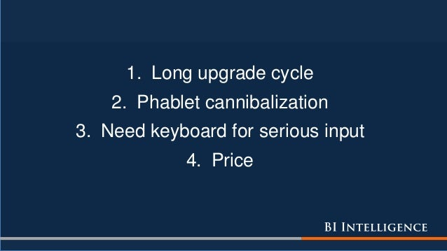 1. Long upgrade cycle 2. Phablet cannibalization 3. Need keyboard for serious input 4. Price