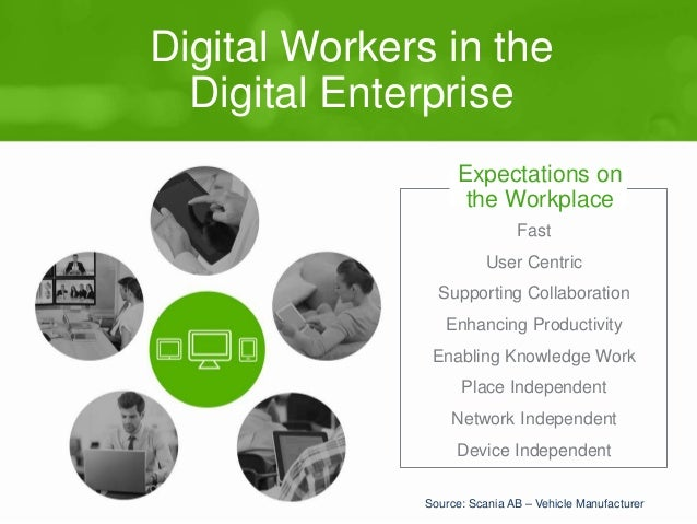 Digital Workers in the  Digital Enterprise  Expectations on  the Workplace  Fast  User Centric  Supporting Collaboration  ...