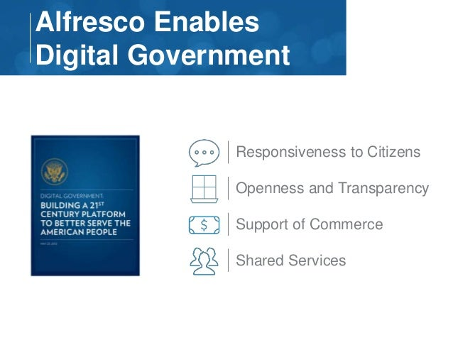 Alfresco Enables  Digital Government  Responsiveness to Citizens  Openness and Transparency  Support of Commerce  Shared S...