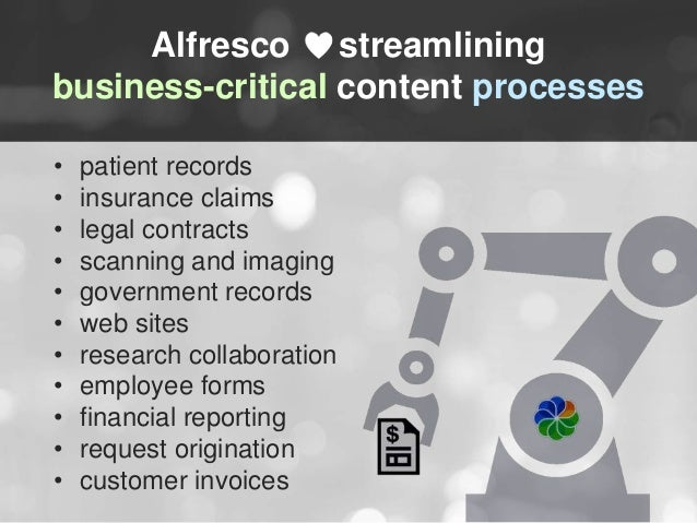 Alfresco streamlining  business-critical content processes  • patient records  • insurance claims  • legal contracts  • sc...