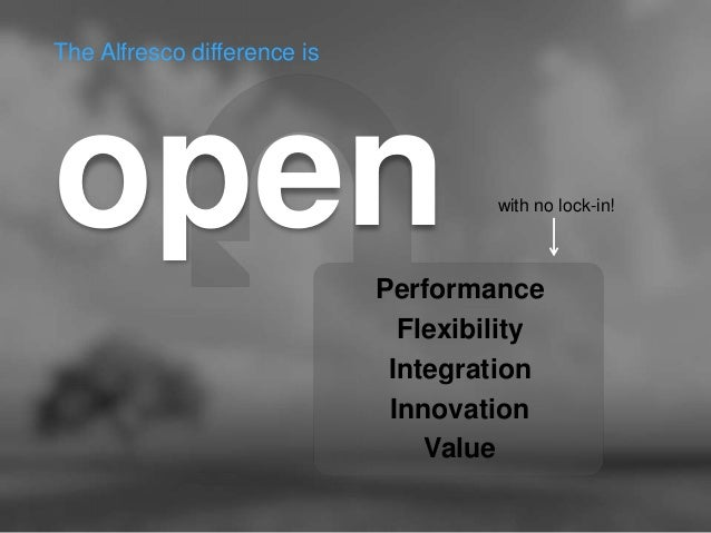 The Alfresco difference is  open  Performance  Flexibility  Integration  Innovation  Value  with no lock-in!