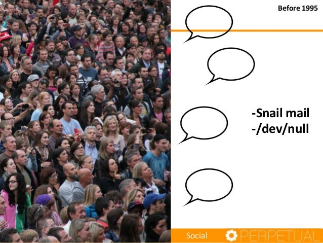 Before 1995  -Snail mail -/dev/null  Social