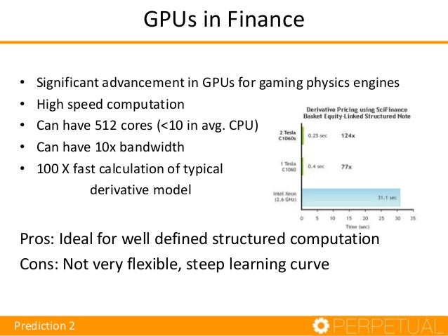 GPU Opportunities in Finance • • • • • •  Derivatives Pricing Speeding up risk analysis (can take days/weeks) Trading stra...