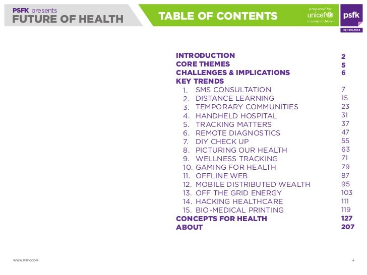 prepared for PSFK presents FUTURE OF HEALTH   TABLE OF CONTENTS                                                           ...
