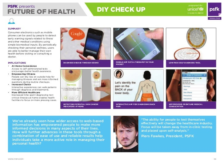 prepared for PSFK presents FUTURE OF HEALTH                                                                diy CHECK UP   ...