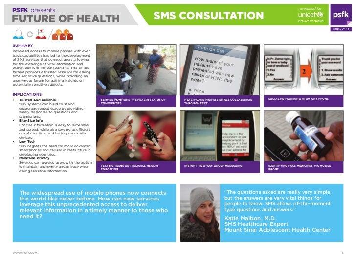 prepared for PSFK presents FUTURE OF HEALTH                                                                 SmS CONSULTATi...